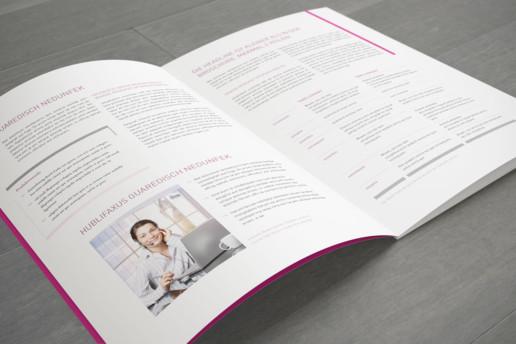 Gestaltungsraster bzw. Layout für Printmedien des IT-Unternehmens VRG Gruppe