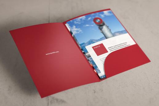 Mappe, Flyer Beratungsunternehmen Ipontix aus Frankfurt