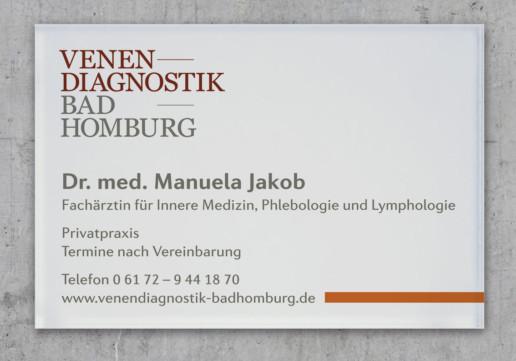 Praxisschild, Schild für Arztpraxis Venendiagnostik Bad Homburg